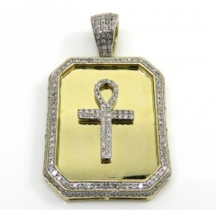 10k Yellow Gold Diamond Ankh Dog Tag Pendant 0.65ct