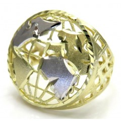 10k Two Tone Gold Caged World Ring