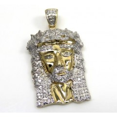 14k Yellow Gold Diamond Jesus Face Pendant 0.20ct