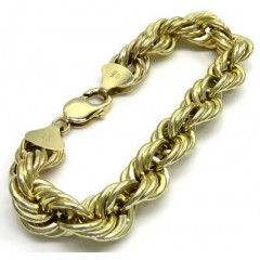 10k Yellow Gold Hollow Smooth Xl Rope Bracelet 8.25 Inches 12mm