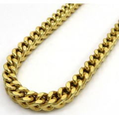 925 Yellow Sterling Silver Thick Franco Link Chain 26-30 Inch 5mm