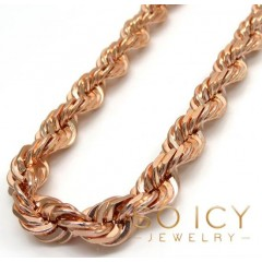 14k Rose Gold Solid Diamond Cut Rope Chain 20-26 Inch 6.50mm
