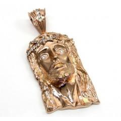 10k Solid Rose Gold Xl Classic Cz Jesus Face Pendant 1.50ct