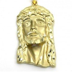 10k Yellow Gold Medium Classic Jesus Face Pendant
