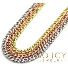 10k Yellow White Or Rose Gold Skinny Hollow Puffed Miami Chain 22-24 3mm