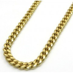 10k Yellow Or Rose Gold Hollow Puffed Miami Chain 20-26 Inch 3.70mm