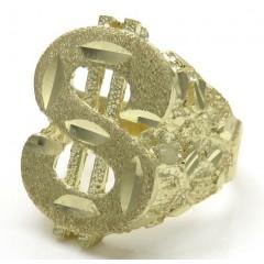 10k Yellow Gold Diamond Cut Nugget Dollar Sign Ring