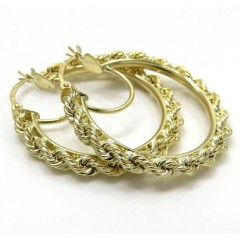 Ladies 10k Yellow Gold 3mm Rope Hoops