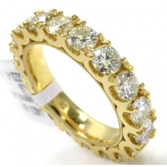 14k Yellow Gold Comfort Grip Eternity Diamond Wedding Band 3.45ct