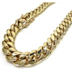 14k Yellow Gold Solid Miami Link Chain 26-30