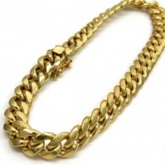 10k Yellow Gold Hollow Puffed Miami Bracelet 8.50 Inch 9.50mm