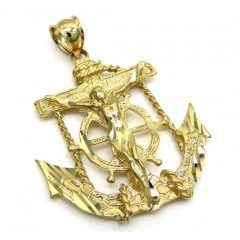 14k Solid Yellow Gold Anchor Jesus Pendant