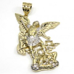 10k Two Tone Gold Large Angel V Demon Saint Michaels Pendant