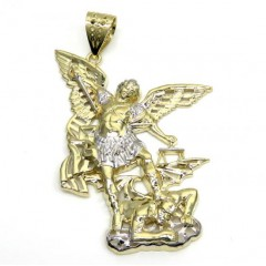 10k Two Tone Gold Medium Angel V Demon Saint Michaels Pendant