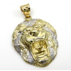 10k Two Tone Gold Medium 3d Lion Head Pendant