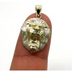 10k Two Tone Gold Mini 3d Lion Head Pendant