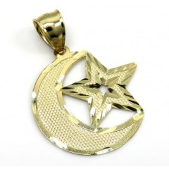 10k Yellow Gold Islam Crescent Moon And Star Religious Pendant