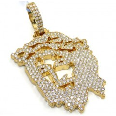 14k Yellow Gold Diamond Stencil Extra Large Jesus Piece 4.76ct
