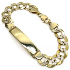 14k Yellow Gold Diamond Cut Cuban Id Bracelet 8.75 Inch 11.30mm