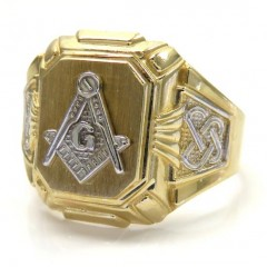14k Yellow Gold Fancy Two Tone Free Mason G Ring