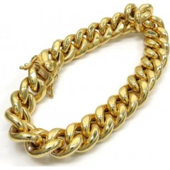 10k Yellow Gold Hollow Miami Bracelet 8.5 Inch 12.20mm
