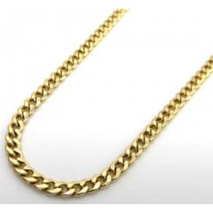 10k Yellow Gold Skinny Hollow Puffed Miami Chain 24 Inch 2.20 Mm