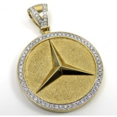 10k Yellow Gold Large Diamond Star Medallion Pendant 2.02ct