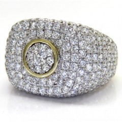 10k Yellow Gold Dome Shaped Cluster Round Diamond Fashion Ring 4.91ct