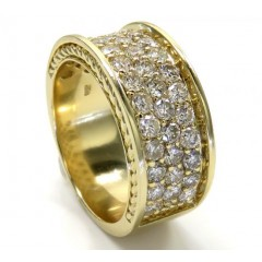 10k Yellow Gold 3 Row Big Diamond Wedding Band Ring 2.52ct