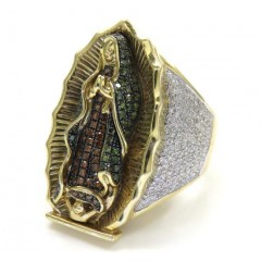 10k Yellow Gold White Red & Green Diamond Virgin Mary Ring 1.66ct