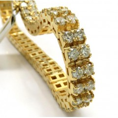 10k Yellow Gold 2 Row Diamond Tennis Bracelet 8 Inch 14.23ct