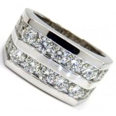 14k White Gold 2 Row 20 Pointer Diamond Wedding Band Ring 3.70ct