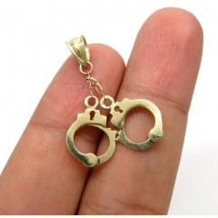 10k Yellow Gold Small Handcuffs Pendant