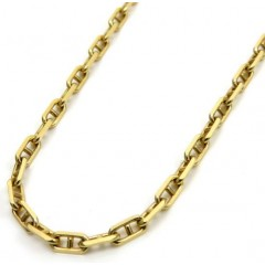 14k Yellow Gold Solid Mariner Chain 24 Inches 2mm