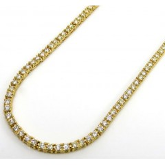 14k Yellow Gold Round 3 Pointer Diamond Skinny Tennis Chain 3mm 6.50ct 20-30