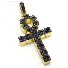 14k Yellow Gold Vs Black Diamond Ankh Cross 2.40ct