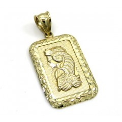 10k Yellow Gold Medium Gold Nugget Bar Pendant