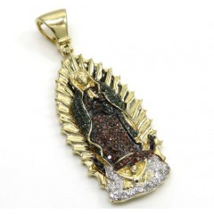 14k Yellow Gold Red Green & White Diamond Large Lady Of Guadalupe Pendant 0.91ct