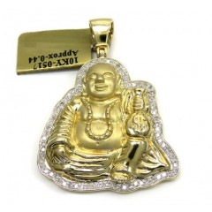 10k Yellow Gold Money Bag Fat Buddha Diamond Pendant 0.44ct