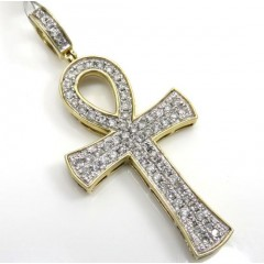 10k Yellow Gold 2 Row Diamond Ankh Cross 0.96ct