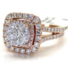 14k Rose Gold Round Diamond Square Halo Engagement Ring 1.64ct
