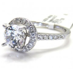 Ladies 14k White Gold Round Diamond Halo Engagement Ring 0.37ct