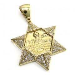 14k Yellow Gold Diamond Star Of David Pendant 1.06ct