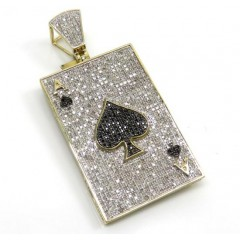 10k Yellow Gold Black & White Diamond Ace Of Spades Pendant 1.58ct