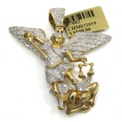 10k Yellow Gold Large Diamond Angel Vs Demon Pendant 1.12ct