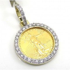 10k Yellow Gold Diamond Liberty Coin Pendant 0.60ct