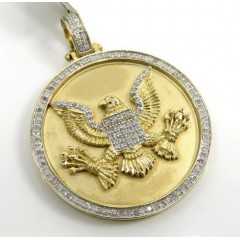 10k Yellow Gold Diamond American Eagle Holding Arrows Pendant 0.75ct