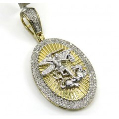 10k Yellow Gold 2 Row Round Diamond Saint Michaels Pendant 0.35ct