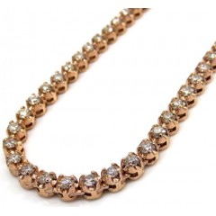 10k Rose Gold Round 5 Pointer Diamond Tennis Chain 18-26 Inches 3.50mm 7.70ct
