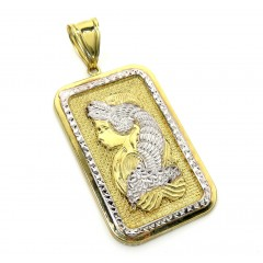 10k Two Tone Gold Xl Solid Back Gold Bar Pendant